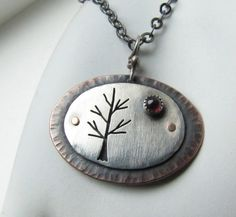 Winter Tree Haiku sterling silver copper and by silentgoddess, $57.00