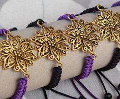 Connector bracelet with flower/ Macrame jewelry for women/ Purple cord bracelet/ Gift for women/ Womens bracelet