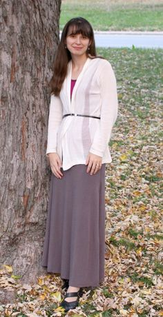 Modest Monday Outfit Post at themodestmomblog.com | Grey Maxi Skirt from Deborah & Co!