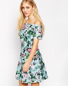 Style London Bardot Skater Dress in Floral