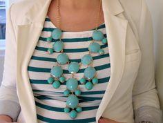 jcrew bubble necklace aqua green