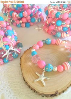 Mermaid party favor starfish children child kids birthday party favor pink blue beaded bracelets stretchy jewelry Set of TEN. Pink Party Favors, Mermaid Party Favors, Party Favors For Kids Birthday, Birthday Crafts, Birthday Parties, Crystal Jewelry, Beaded Jewelry, Handmade Jewelry, Beaded Necklace
