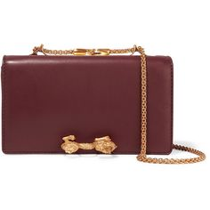 Valentino Embellished leather shoulder bag (73 345 UAH) ❤ liked on Polyvore featuring bags, handbags, shoulder bags, burgundy, burgundy leather handbags, valentino handbags, chain shoulder bag, leather shoulder bag and genuine leather handbags