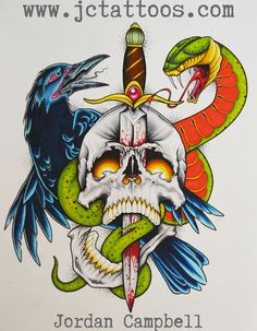 raven, snake, dagger and skull tattoo flash, by Jordan Campbell