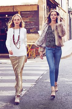 Love this outfit on the left - Sirene Sequin Skirt, Rennes Sweater, Fluted Vines Strand, and Cherry Harvest Necklace