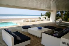 Gather with family & friends around the pool, on the huge deck, overlooking the Pacific Ocean at Casa Garífuna in Playa Costa Azul El Salvador, a 5 bedroom/6 bathroom beach house right on the beach.