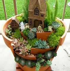Succulent planter = miniature village
