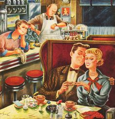 """""""Young Love After Closing, art by Constantin Alajalov. Detail from Saturday Evening Post cover, July 15, 1950."""""""