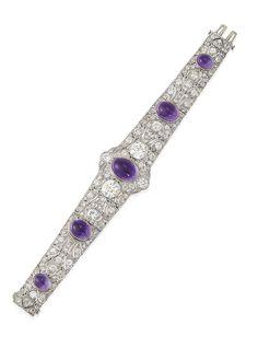 ©️ Christies Sale 15493 Lot 119 Belle Époque Amethyst And Diamond Bracelet Aquamarine Bracelet, Diamond Bracelets, Jewelry Bracelets, Bangles, Bangle Bracelet, Bijoux Art Deco, Modern Jewelry, Fine Jewelry, Antique Jewelry