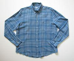 STEVEN ALAN MENS M medium BLUE PLAID FLANNEL BUTTON DOWN SHIRT #STEVENALAN #ButtonFront