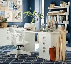 Bedford 4- Drawer Rectangular Desk, white. like the floating desk and clear glass rolled paper holders.