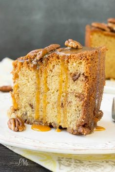 Homemade Pecan Pie Pound Cake Recipe is a soft, buttery pound cake recipe that's studded with sugared pecans and caram