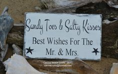 Beach Sign Beach Wedding, Coastal Wedding, Sandy Toes Salty Kisses Best Wishes Mr Mrs, Beach Gift Decor, Guest Book Table Decoration Ideas, Reception Wedding Day, Distressed Weathered Handpainted Rustic Wedding Signs, Handmade