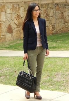 Top: J Crew Classic Schoolboy blazer in navy & J Crew perfect-fit tank in stripe (navy ivory) Bottom: J Crew Seamed motorcycle pant (in fatigue) Shoes: Anthropologie  Purse: Kate Spade New York Sedgewick Place Phoebe