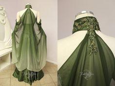 Elven Bridal Gown Back View by Lillyxandra.deviantart.com on @DeviantArt