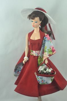 Handmade Vintage Barbie/Silkstone Clothes by P. Linden 9 pc Red dress and shawl #FITSVINTAGEREPRODUCTIONSANDSILKSTONEBARBIE