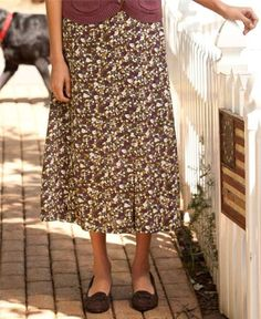 Field-of-flowers Rayon Challis Skirt $59.00