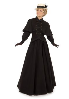 Edwardian Twill Cape Blouse and Skirt 1800s Fashion, Edwardian Fashion, Vintage Fashion, Gothic Fashion, Victorian Gown, Victorian Costume, Vintage Outfits, Vintage Dresses, Titanic Dress