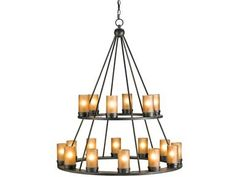 Large two-tier circles of iron hold eighteen lights. The wrought iron is finished in the Old Iron finish. Glass shades shield the lights.