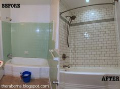 Bathroom Renovation - 1960 Ranch Remodel, Green tile to White Subway tile; Gray Grout; DIY