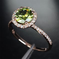 Engagement Wedding Ring 14k Rose Gold with Natural Peridot and Diamonds.  Hell yes this is my fav!!!