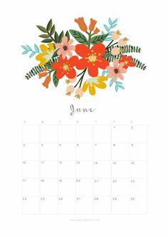 Printable June 2018 Calendar Monthly Planner - Flower Design - A Piece Of Rainbow