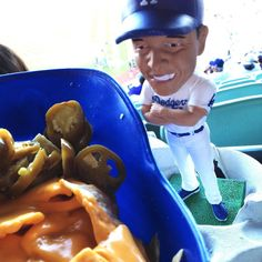 THINK BLUE:  Didn't get a win but I got my Bobblehead and nachos  #dodgerstadium #dodgers by dgr_luvr