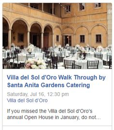 The next Villa del Sol d'Oro walk through is August 27th. More information on Yelp! Events: https://www.yelp.com/events/sierra-madre-the-villa-del-sol-d-oro-walk-through-by-santa-anita-gardens-catering #pasadenawedding #villadelsoldoro