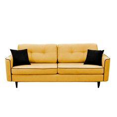 Horčicovožltá rozkladacia pohovka s čiernymi nohami Mazzini Sofas Magnolia za 830 eur. Dostupné skladom. Klasicky krásna pohovka s ozdobným lemovaním urobí z vášho domova luxusné panské sídlo. Nie je to len pohovka - keď ju rozložíte, stane sa razom príjemnou posteľou, kde sa vyspia pohodlne dve osoby. A má aj... Love Seat, Couch, Magnolia, Furniture, Design, Home Decor, Settee, Decoration Home, Sofa