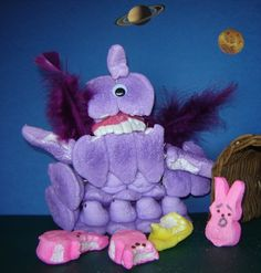 2011 Contest One-eyed, one-horned flying purple Peeple Eater. Photo posted by: Jen Eyrich This Purple Peeple Eater from outer space has attacked these innocent peeps! Refer to the 1960s song for further details!