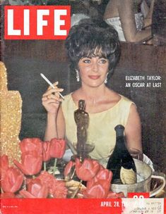 "1961 LIFE MAGAZINE vintage magazine cover ""Elizabeth Taylor"" ... April 28, 1961 ~ Elizabeth Taylor: An Oscar At Last ... Feeling ""weak but wonderful,"" lovely Liz Taylor, the best actress of the year, glows behind her coveted Oscar at a banquet following the 33rd annual Academy Awards ceremony (see pp. 69-74A) ~"