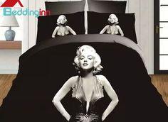 Fancy Marilyn Monroe Print Black Polyester 4-Piece Duvet Cover Sets