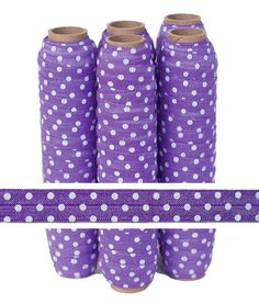 Purple with White Polka Dots Fold Over Elastic