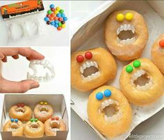 Monster donuts! Pick up some donuts from your grocery store bakery, add some candy eyes and teeth and they're ready to go! Halloween Donuts, Halloween Desserts, Halloween Torte, Dulces Halloween, Hallowen Food, Halloween Food For Party, Spooky Halloween, Halloween Breakfast, Halloween Stuff