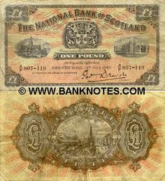 Scotland 1 Pound 1940 •  The National Bank of Scotland. Views of Scotland.