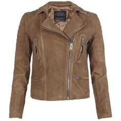 AllSaints Tan Leather Biker Jacket (2.040 NOK) ❤ liked on Polyvore