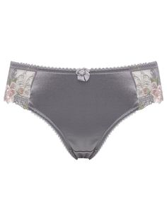 Floral lace embroidered high leg briefs