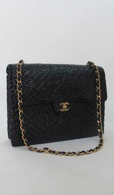 Chanel black lacquered wicker shoulder bag Palm Beach Vintage