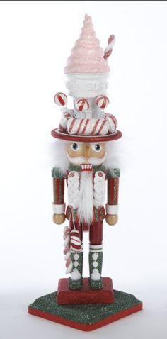 Green Ice Cream Hat Soldier Wooden Hollywood Christmas Nutcracker