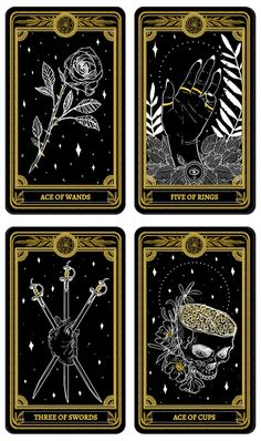 The Marigold Tarot A tarot deck rooted in life, death, and gold.   Minor Arcana Suits - Wands, Rings, Swords, Cups.  On Kickstarter.