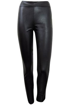 Faux Leather Leggings with Piping - Black #shoppitaya