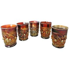 Northwood Acorn Burr Carnival Glass Tumblers Set of 5 - - offered by Premier-Antiques on Ruby Lane.