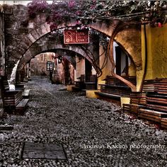 Medieval town in Rhodes Greece.
