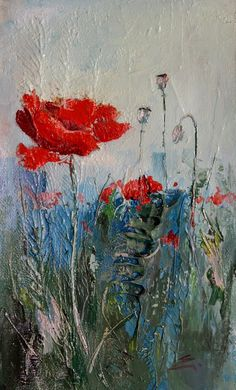 Fire Painting, Tulip Painting, Oil Painting Flowers, Abstract Flowers, Flower Canvas, Flower Art, Acrylic Painting Inspiration, Art Painting Gallery, Watercolor Paintings