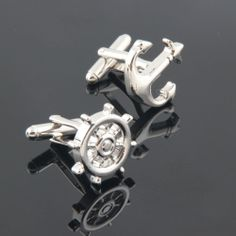 Ship Anchor and Helm Cufflinks Set  1 Pair of by Classystore, $16.30