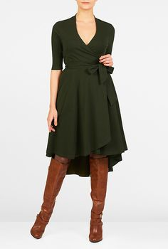 """I <3 this High-low hem cotton knit wrap dress from eShakti. Size 6 should work. I'm 5'6"""" tall. And I'd like the sleeves to be bracelet length I think."""