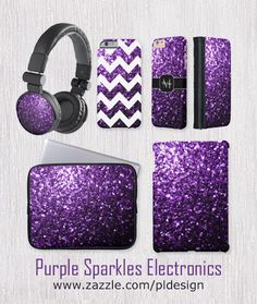 Trendy Purple sparkles Electronics: Headphones, Neoprene Laptop Sleeves, phone cases and iPad covers by #PLdesign #PurpleSparkles #SparklesGift
