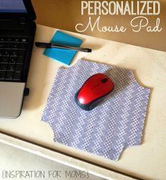 DIY Personalized Mouse Pad   www.inspirationformoms.com #mousepad