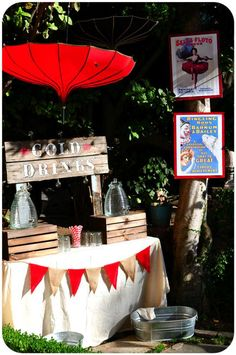 Carnival Party - Love the vintage printouts and burlap banner. Really want the umbrellas but no such luck-KS**