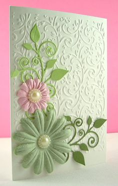 "Floral card made using ""Craft Concepts Budding Vine"" Embossing Folder & ""Fancy That Flourish"" Die"